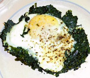 Eggs Poached on Greens Recipe Photo