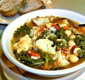 Cauliflower, Chickpea and Kale Soup Recipe Photo
